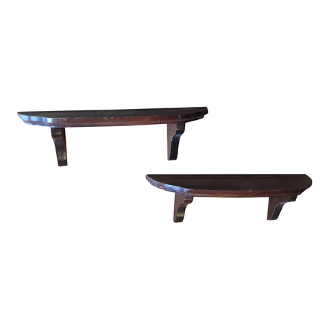 1970s Traditional Utilitarian Wooden Shelves - a Pair - FREE SHIPPING!