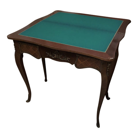1970s Traditional Wooden Game Table With Green Felt - FREE SHIPPING!