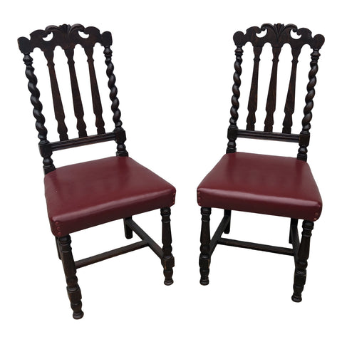 1970s Turned Wooden Chairs - A Pair - FREE SHIPPING!