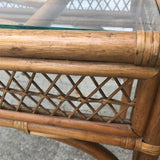 1970s Vintage Bamboo and Glass Console Table** - FREE SHIPPING!