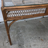 1970s Vintage Bamboo and Glass Console Table - FREE SHIPPING!