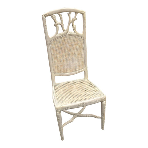 1970s Vintage Faux Boise White Wooden Cane Accent Chair** - FREE SHIPPING!