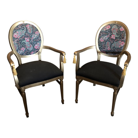 1970s Vintage Gilded Chairs - a Pair - FREE SHIPPING!