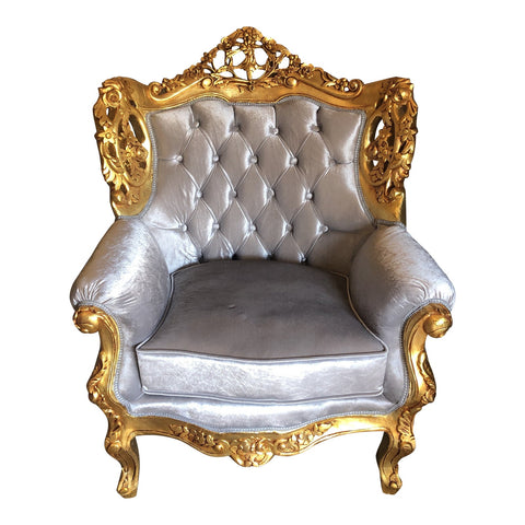 1970s Vintage Gilded Velvet Tufted Oversized Chair - FREE SHIPPING!