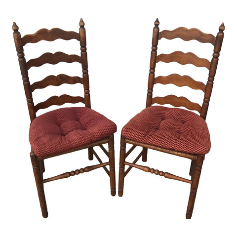 1970s Vintage Italian Rush Seating Caned Farm Chairs** - A Pair - FREE SHIPPING!