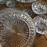 1970s Vintage Mixed Crystal Plates and Dishes - Set of 15 - FREE SHIPPING!