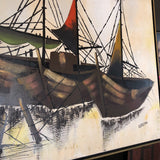 1970s Signed Vintage Oil on Canvas Boat Painting - FREE SHIPPING!