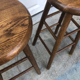 1970s Vintage Scandinavian Style Solid Wooden Stools - A Pair - FREE SHIPPING!