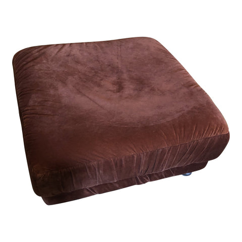 1970s Vintage Velour Ottoman on Castors - FREE SHIPPING!