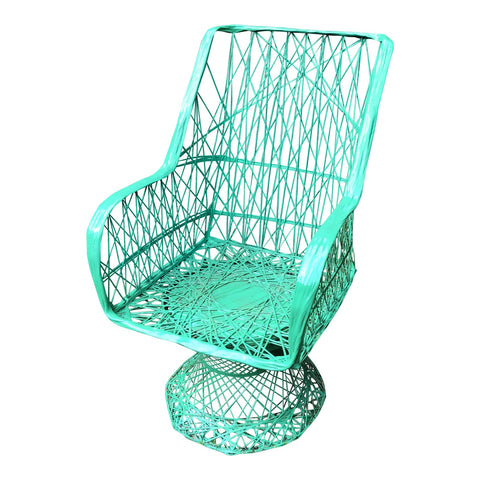 1970s Vintage Woodard Spun Fiber Outdoor Green Chair - FREE SHIPPING!