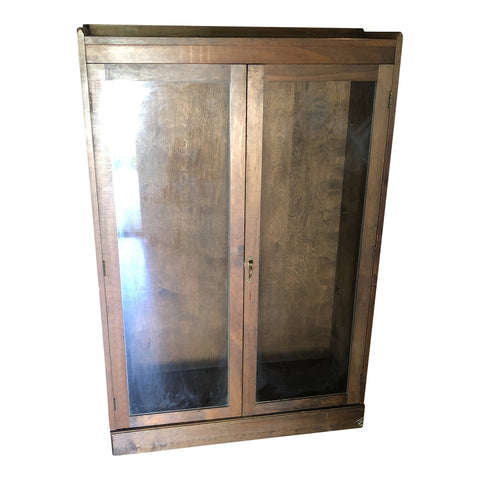1970s Vintage Wood Cabinet w/ Glass Doors - FREE SHIPPING!