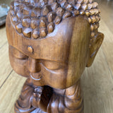 1970s Wooden Infant Buddha Handcarved Statue - FREE SHIPPING!