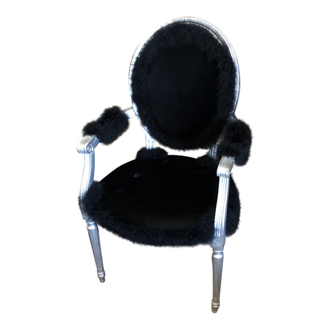 1980s Black Leather Fur Chair - FREE SHIPPING!