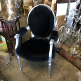 1980s Black Leather Fur Chair** - FREE SHIPPING!