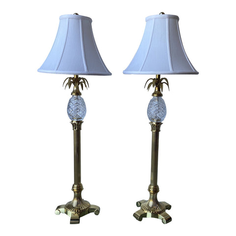 1980s Brass and Crystal Table Lamps W Pineapple Accent - a Pair - FREE SHIPPING!