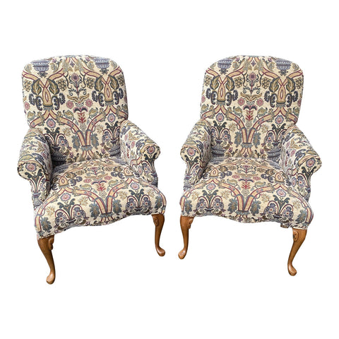 1980s Classic Tapestry Chairs With Pad Feet - a Pair
