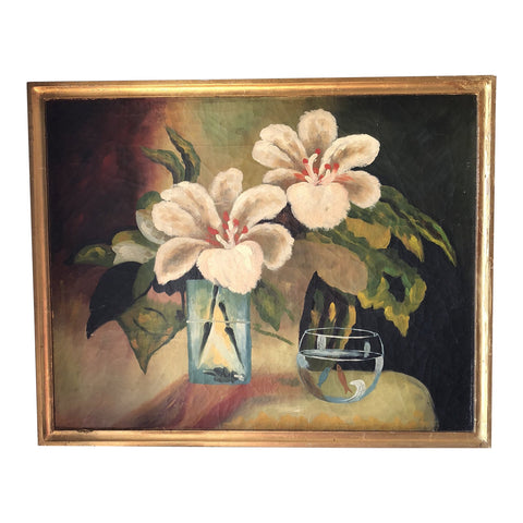 1980s Flowers and Fishbowl Oil on Wood Painting - FREE SHIPPING!