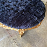 1980s Gold Black Tufted Ottoman Bench - FREE SHIPPING!