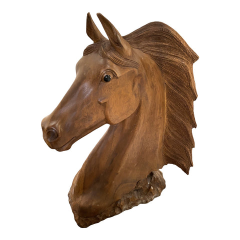 1980s Hand Carved Wooden Sculptural Horse