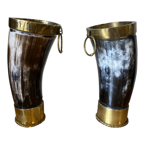 1980s Horn and Brass Cups or Vases - a Pair - FREE SHIPPING!