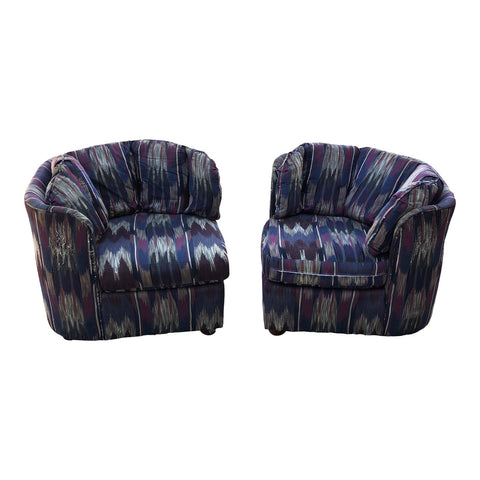 1980s Triangular Tufted Lounge Chairs - a Pair - FREE SHIPPING!