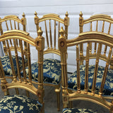 1980s Vintage Collection Gilded Blue Dining Chairs** - Set of 6 - FREE SHIPPING!