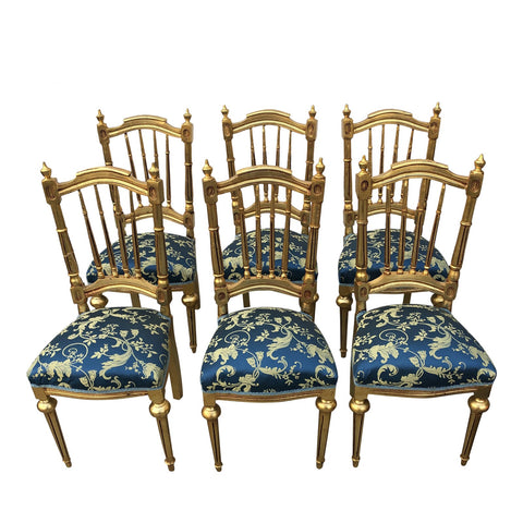 1980s Vintage Collection Gilded Blue Dining Chairs - Set of 6 - FREE SHIPPING!