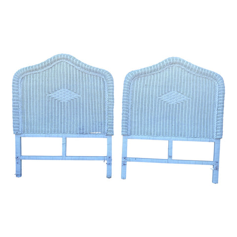 1980s White Wicker Twin Headboards - a Pair - FREE SHIPPING!
