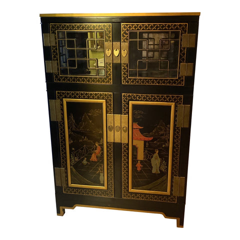 1990s Asian Chinoiserie Stately Bar With Gilded Fretwork Details