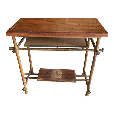 1990s Hand Hammered Spanish Wooden Console Table