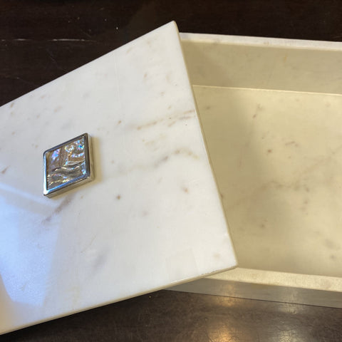 1990s Large Heavy Marble Box With Mother of Pearl Details - FREE SHIPPING!