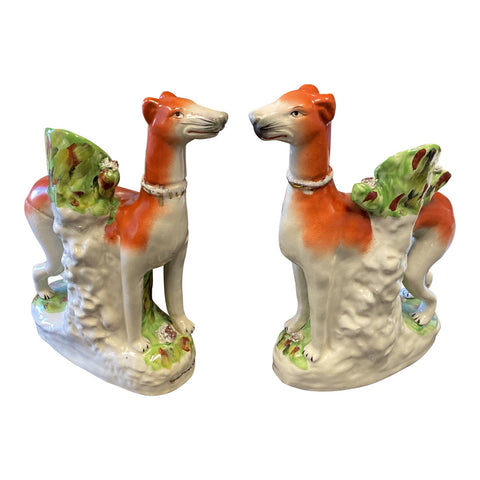 1990s Large Staffordshire Dog Vases - a Pair - FREE SHIPPING!
