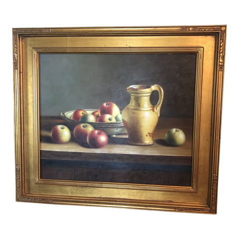 1990's Vintage Apples & Pitcher Still Life Painting - FREE SHIPPING!