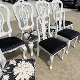 1990s White Wooden Scrolling Chairs - Set of 8 - FREE SHIPPING!