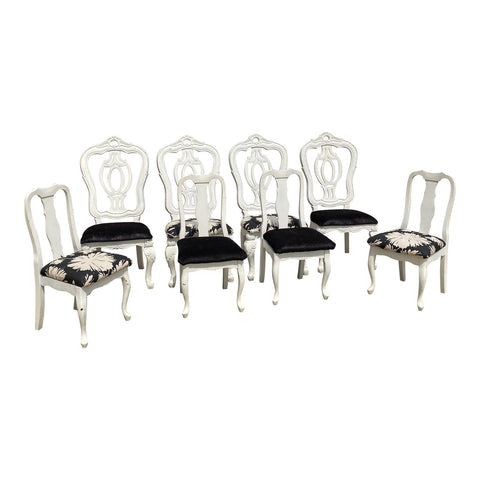 1990s White Wooden Scrolling Chairs - Set of 8** - FREE SHIPPING!