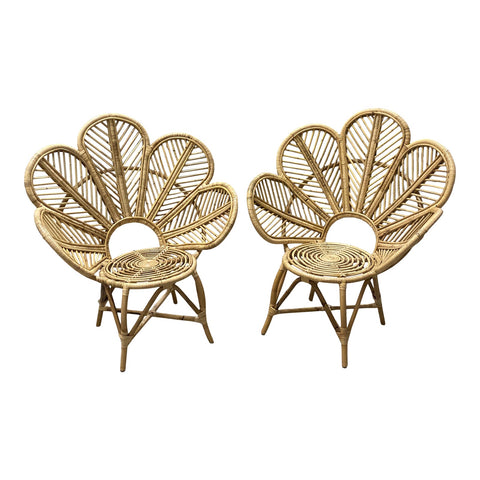 1990s Wicker Blossom Chairs - a Pair