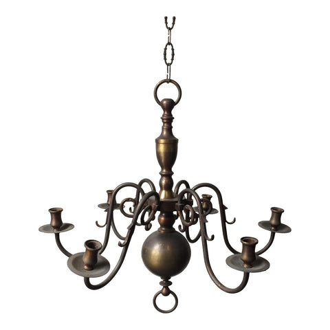 Antique Brass Candle Holder Chandelier - FREE SHIPPING!