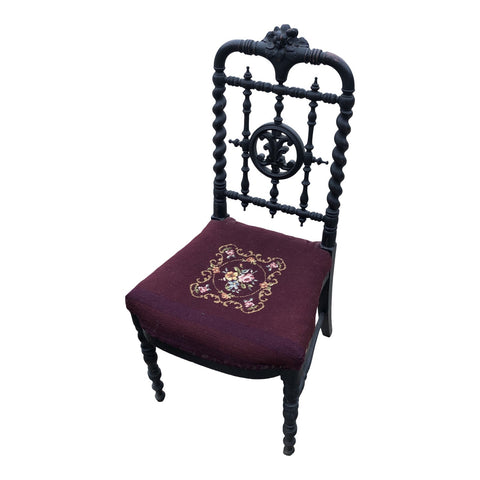Antique Hand Embroidered Chair** - FREE SHIPPING!