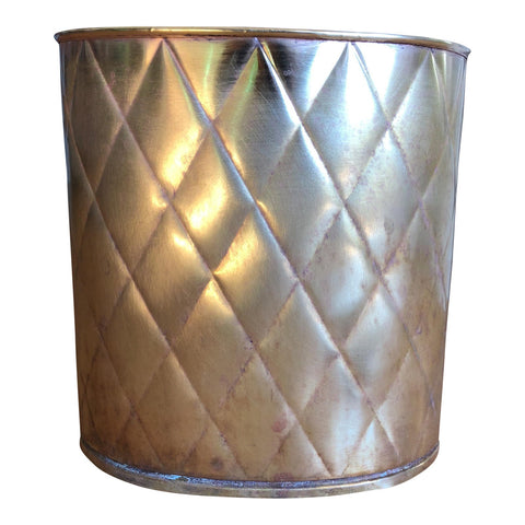 Antique Quilted Brass Wastebasket - FREE SHIPPING!