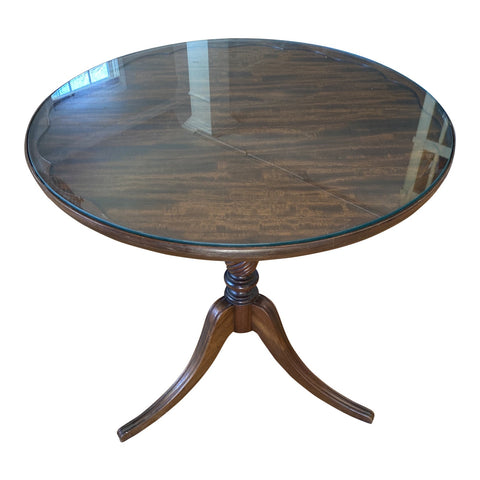 Antique Wood Scalloped Side Table With Glass Top - FREE SHIPPING!