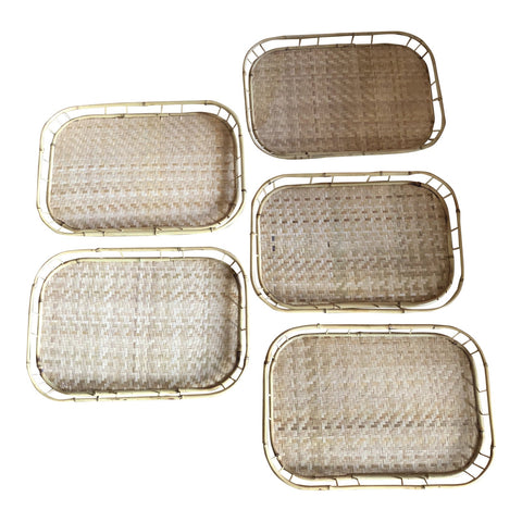 Bamboo Trays With Handmade Weave - Set of 5 - FREE SHIPPING!