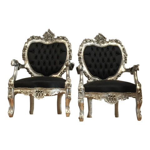 Black Silver Tufted Throne Chairs - A Pair - FREE SHIPPING!