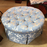 Blue Coral Tufted Ottoman With Skirted Upholstery - FREE SHIPPING!