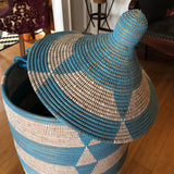 Blue Handwoven Geometric Basket - FREE SHIPPING!