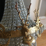 Brass and Crystal Chandeliers With Stag Detail - a Pair - FREE SHIPPING!