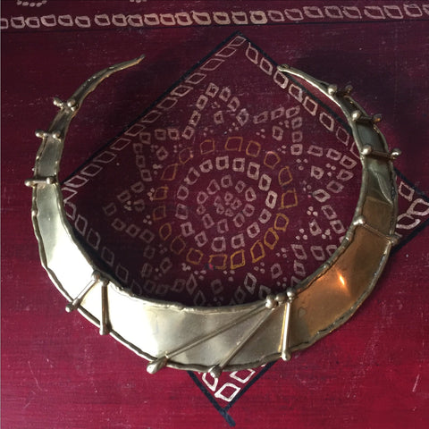 Brass Antique Brutalist Necklace / Choker - FREE SHIPPING!