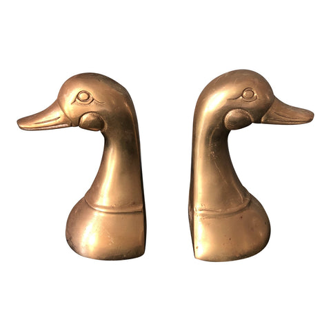 Brass Geese Bookends - a Pair - FREE SHIPPING!