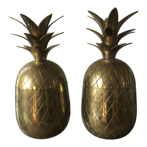 Brass Pineapple Boxes - a Pair - FREE SHIPPING!