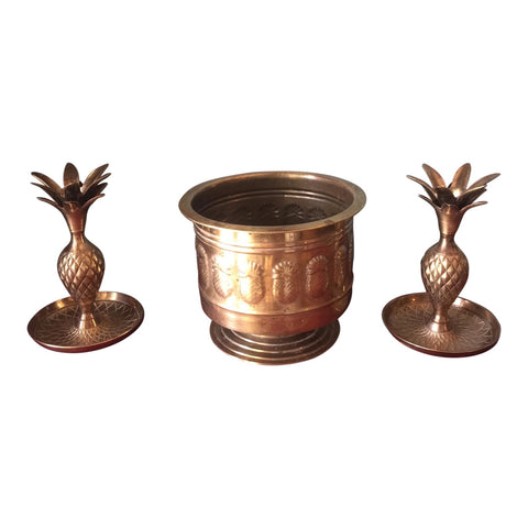 Brass Pineapple Trio of Planter and Candleholders - Set of 3 - FREE SHIPPING!