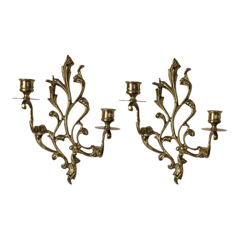 Brass Sconces with Scrolling Acanthus Details - A Pair - FREE SHIPPING!